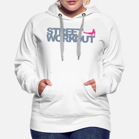 Street Workout Sweat shirt à capuche Premium pour femmes blanc