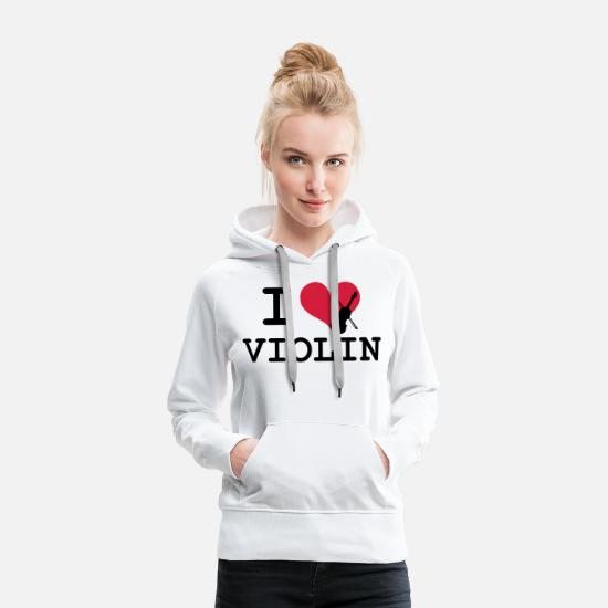 Violin Hoodies & Sweatshirts - I Love Violin - Women's Premium Hoodie white