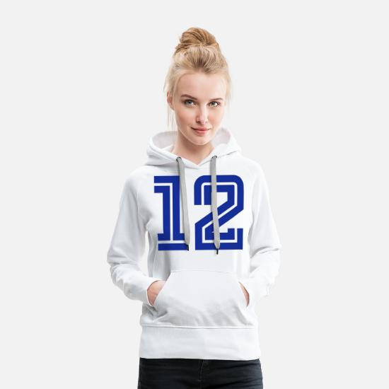 College Hoodies & Sweatshirts - College Numbers, Nummern, Sports Numbers, 12 - Women's Premium Hoodie white