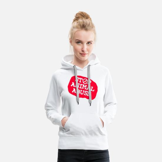 Animal Lover Hoodies & Sweatshirts - stop animal abuse - Women's Premium Hoodie white