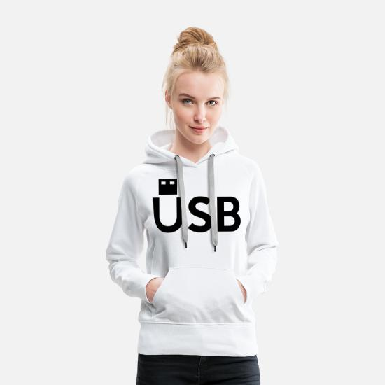 Small Hoodies & Sweatshirts - USB - Women's Premium Hoodie white