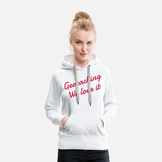 Course D'orientation Sweat-shirts - Geocaching / Geocacher / Boussole / Orientation - Sweat à capuche premium Femme blanc