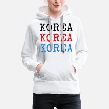 Language Korea - Black Red Blue - Women's Premium Hoodie