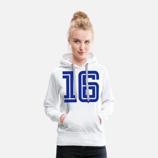 Number Hoodies & Sweatshirts - College Numbers, Nummern, Sports Numbers, 16 - Women's Premium Hoodie white