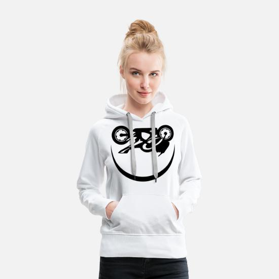 Motorcycle Hoodies & Sweatshirts - Motorcycle speed race smiley smile - Women's Premium Hoodie white