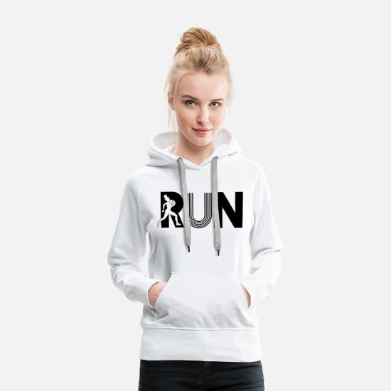 Race Hoodies & Sweatshirts - run run - Women's Premium Hoodie white