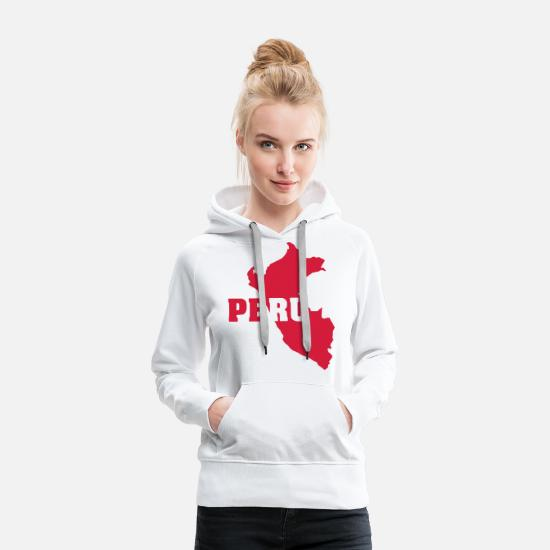 South America Hoodies & Sweatshirts - Peru (ID: 002006) - Women's Premium Hoodie white