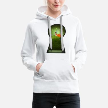 Keyhole Wonder world behind your fantasy door gift idea - Women's Premium Hoodie
