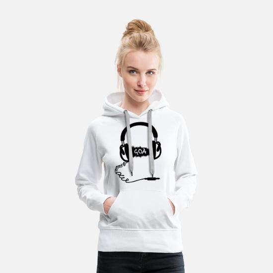 Breakbeat Hoodies & Sweatshirts - Headphones Audio Wave Motif: GOA  - Women's Premium Hoodie white