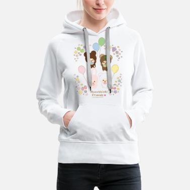 Monchhichi Friends with balloons - Women's Premium Hoodie