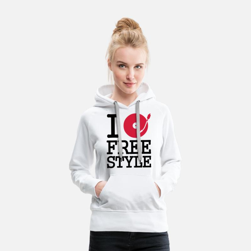Dance Hoodies & Sweatshirts - I dj / play / listen to freestyle - Women's Premium Hoodie white