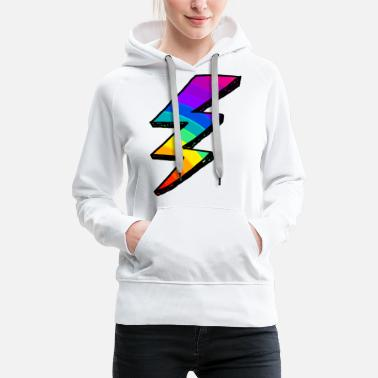 Tempest Colorful lightning Bolt. Rainbow - Women's Premium Hoodie