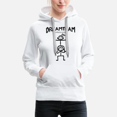 Stick Dreamteam - father and son piggybacking - Women's Premium Hoodie