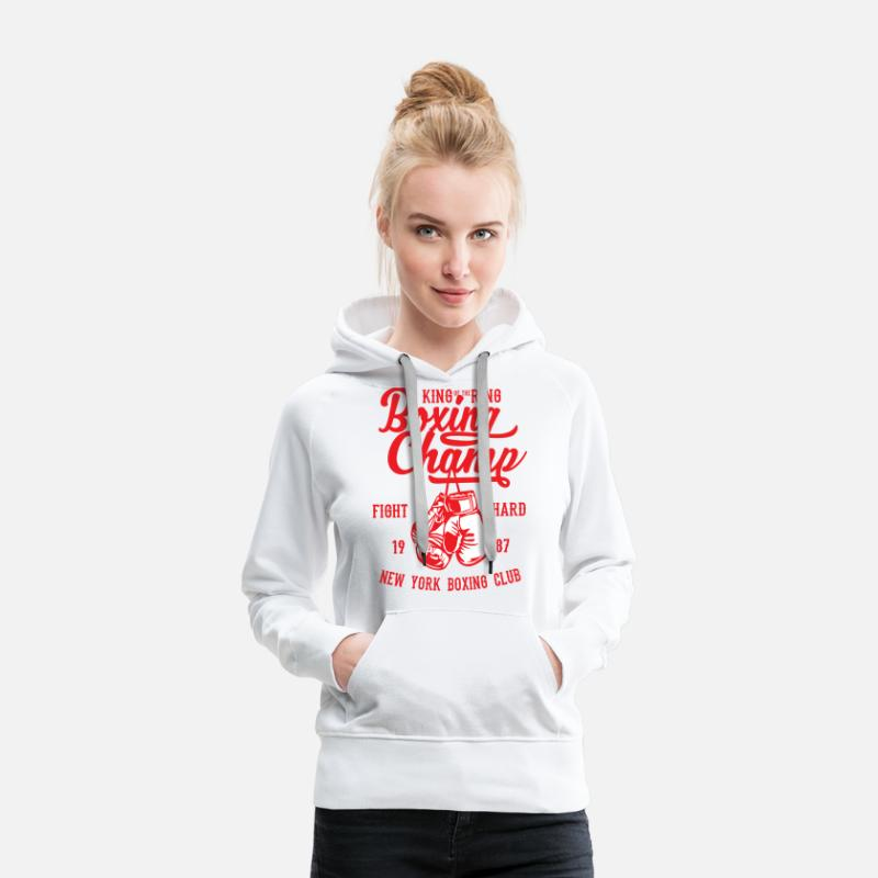 Strong Hoodies & Sweatshirts - Boxing champ - Women's Premium Hoodie white