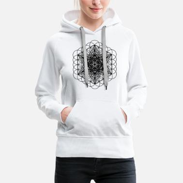 Cubes Black Metatron's Cube and Sacred Flower of Life - Vrouwen premium hoodie