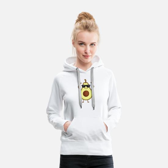 Geschenk Pullover & Hoodies - Cool Avocado Black Sunglasses Vegan Food T-Shirt - Frauen Premium Hoodie Weiß