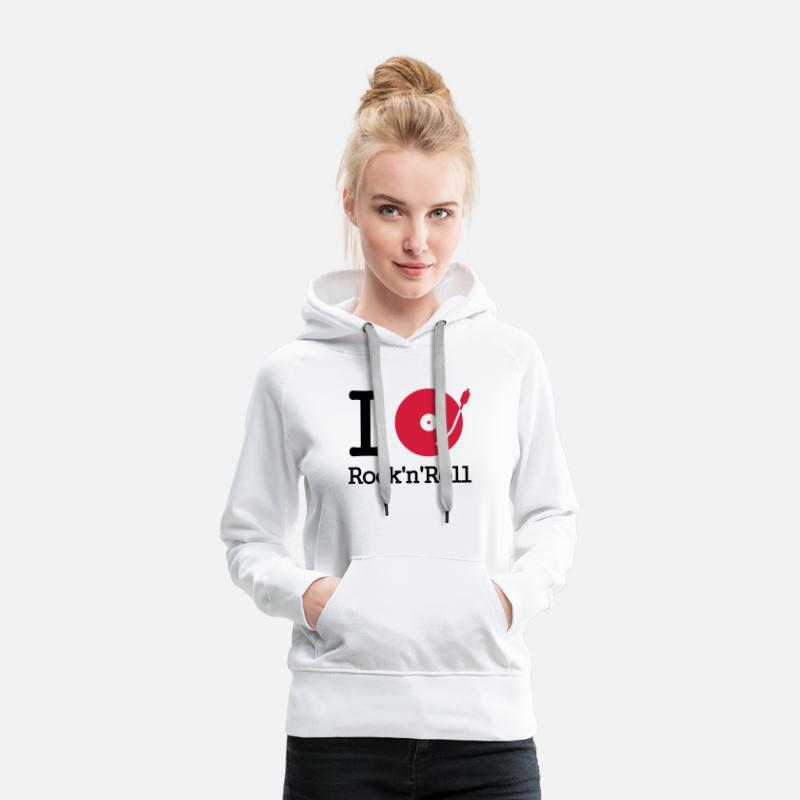 Rock Hoodies & Sweatshirts - I dj / play / listen to rock & roll - Women's Premium Hoodie white