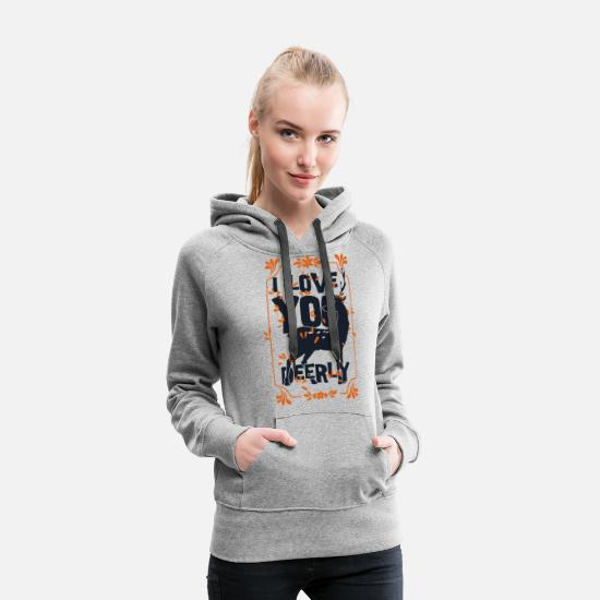 Love Pullover & Hoodies - I love you deerly- Liebe Hirsch Reh Tier - Frauen Premium Hoodie Grau meliert