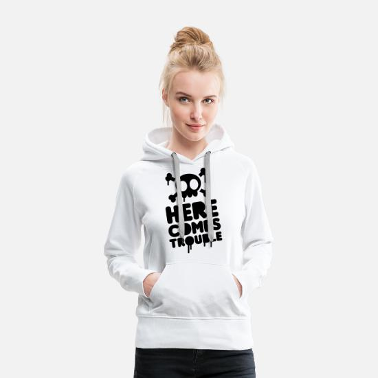 Broken Hoodies & Sweatshirts - Here comes trouble - Women's Premium Hoodie white