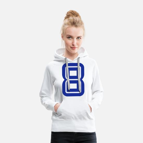 College Hoodies & Sweatshirts - College Numbers, Nummern, Sports Numbers, 8 - Women's Premium Hoodie white