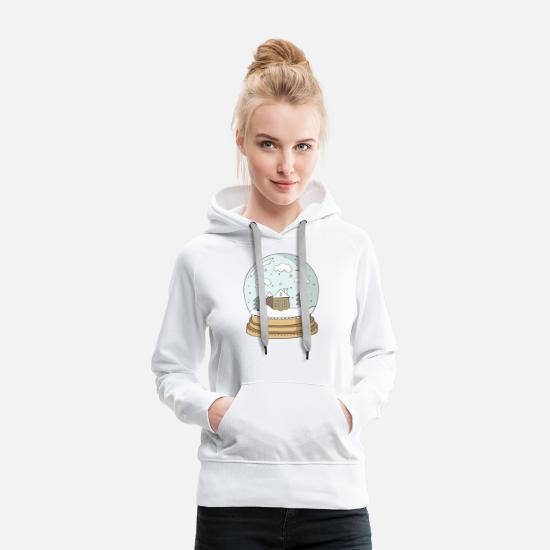 Neige Sweat-shirts - globe de neige - Sweat à capuche premium Femme blanc