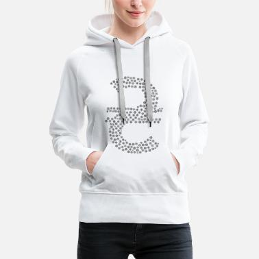 Symbols & Shapes Snowflakes word cloud in cur hryvnia shape (Schwa - Women's Premium Hoodie