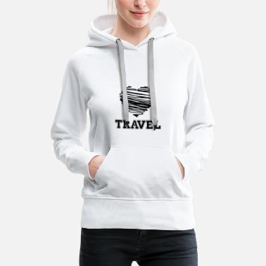 Wanderlust Travel Heart - Backpacker Wanderlust - Women's Premium Hoodie
