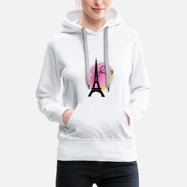 Notre Dame Paris with Eiffel Tower - Women's Premium Hoodie