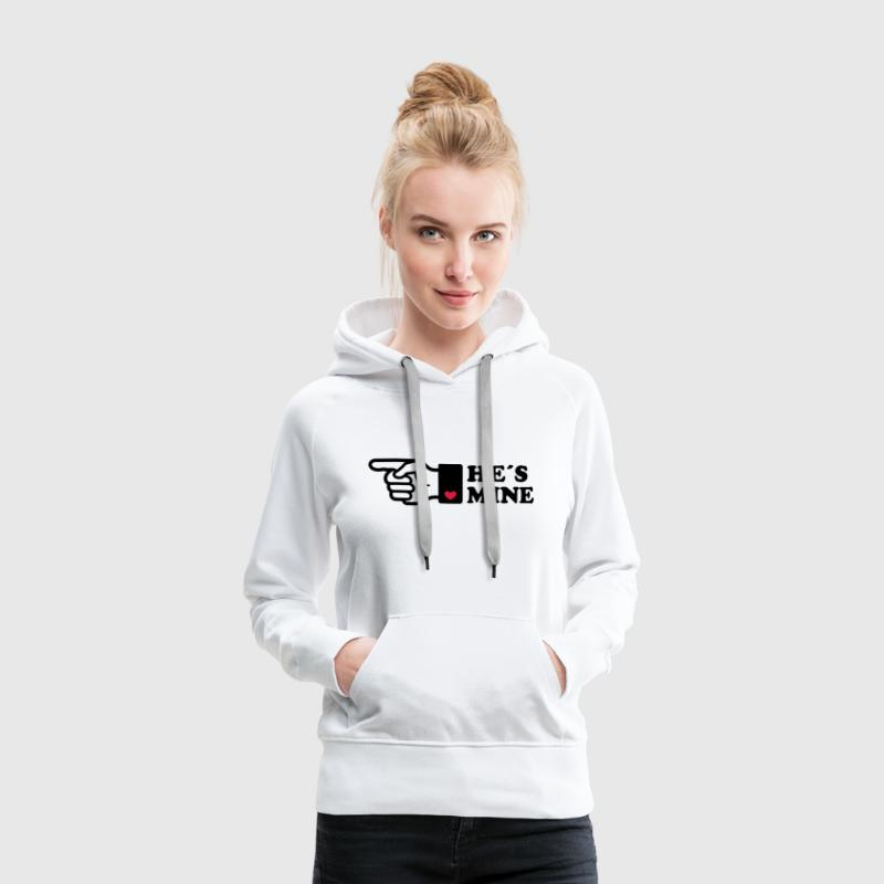 He is mine heart boyriend like hands gift Finger  - Sudadera con capucha premium para mujer