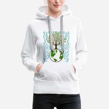 Earth Safe the planet gift earth tree - Women's Premium Hoodie