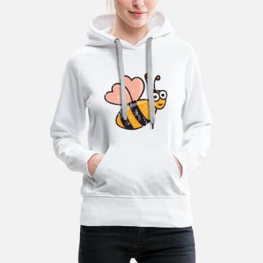 Cool Retro vintage grunge style honeybees bee honey - Women's Premium Hoodie