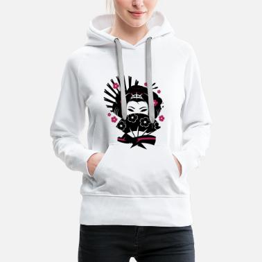 Blossom A geisha with a fan  - Women's Premium Hoodie
