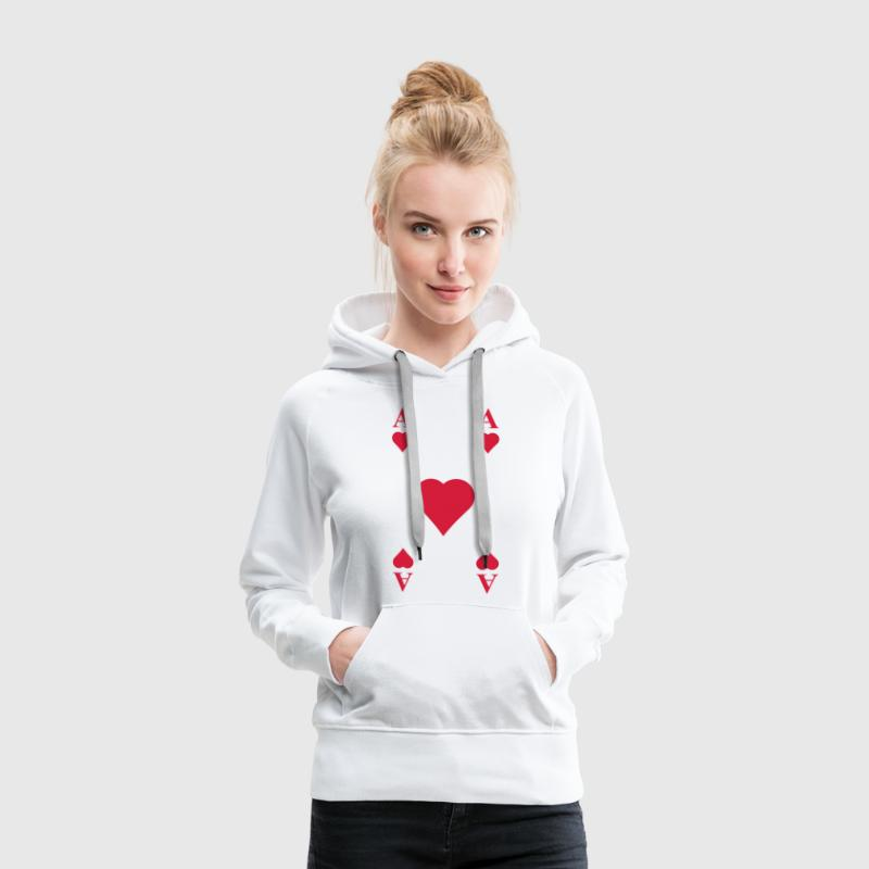 ace of hearts, playing card  - Sudadera con capucha premium para mujer