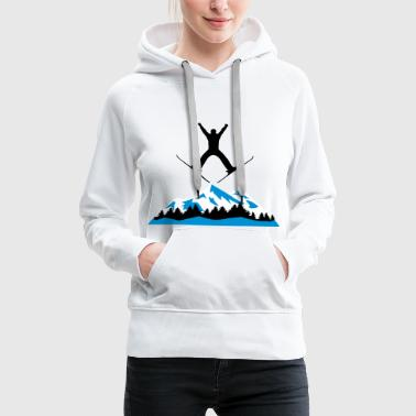 Ski Jumping ski and mountain, ski jumping - Women's Premium Hoodie
