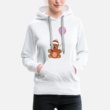 Ugly Cute Teddy Bear Balloon Christmas Xmas - Women's Premium Hoodie