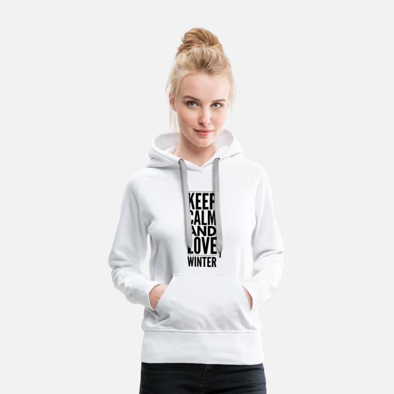 Afterski Sweaters - Keep Calm and Love Winter - Vrouwen premium hoodie wit