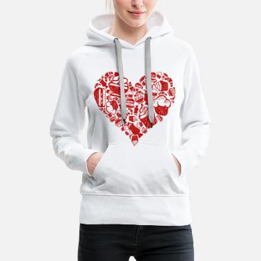 Heart Cake Ice Cream Sandwich Love Shirt - Women's Premium Hoodie