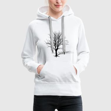 tree silhouette winter shadow - Women's Premium Hoodie