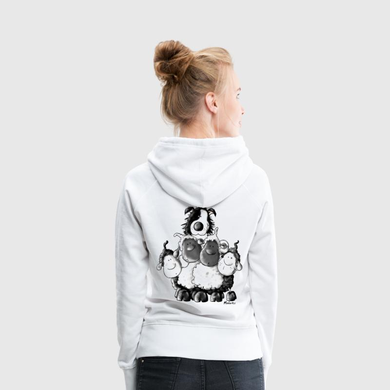 Border Collie and sheep - dog - t-shirt design - Bluza damska Premium z kapturem