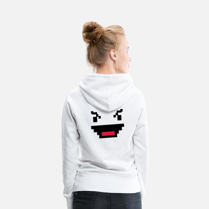 Geek Hoodies & Sweatshirts - EVIL digital geek computer face smiling pixel - Women's Premium Hoodie white