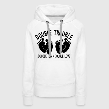 Double trouble double fun double love - Zwillinge - Sweat-shirt à capuche Premium pour femmes