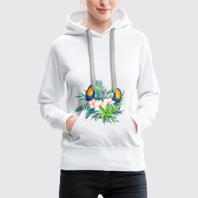 Toucan Tropical Florales - Sweat-shirt à capuche Premium pour femmes