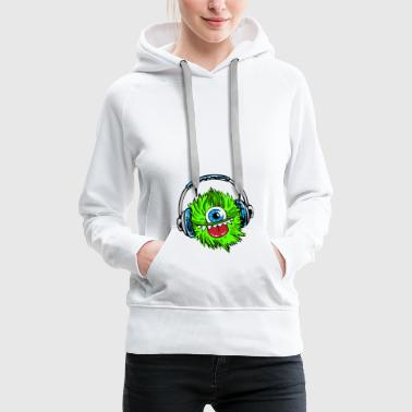 monster green headphones music mascot fur zyk - Women's Premium Hoodie