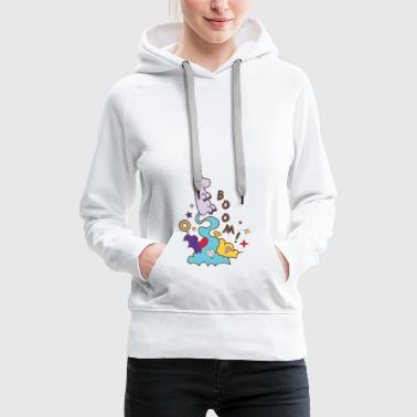 Boom unicorn flies in the sky diamonds - Women's Premium Hoodie