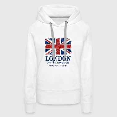 Union Jack - London - Vintage Look  - Sweat-shirt à capuche Premium pour femmes