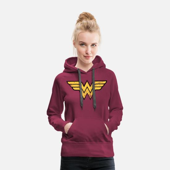 Super Héros Sweat-shirts - DC Comics Ligue De Justice D'Amérique Wonder Woma - Sweat à capuche premium Femme bordeaux