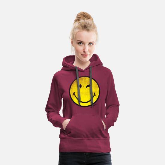 Emoji Hoodies & Sweatshirts - SmileyWorld Classic Winking Smiley - Women's Premium Hoodie bordeaux
