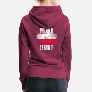 Person Poland Strong Distressed Graffiti Flag - Women's Premium Hoodie