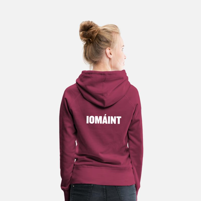 Funny Hoodies & Sweatshirts - Iomaint Irish Hurling graphic - Ireland prints - Women's Premium Hoodie bordeaux