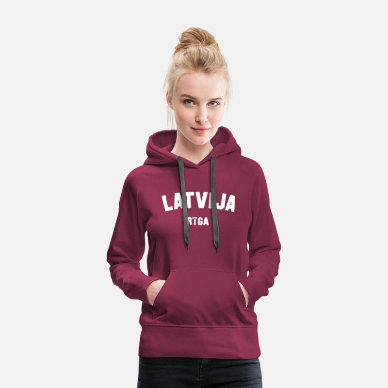 Latvia Hoodies & Sweatshirts - RIGA - Women's Premium Hoodie bordeaux